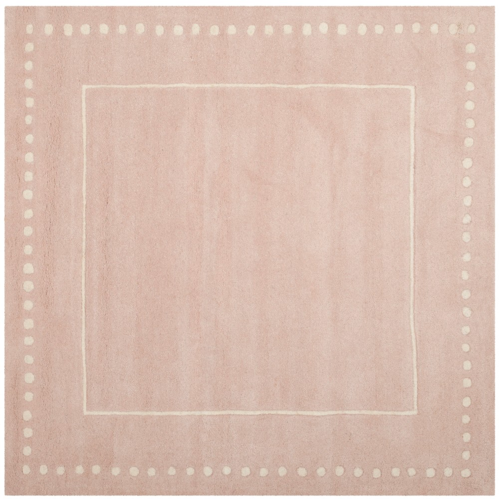5 X5 Solid Square Area Rug Light Pink Ivory Safavieh