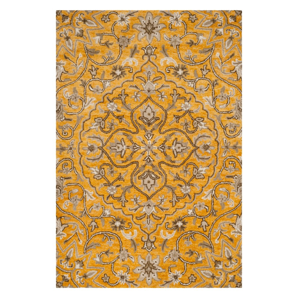 5'X8' Medallion Area Rug Gold/Taupe (Gold/Brown) - Safavieh