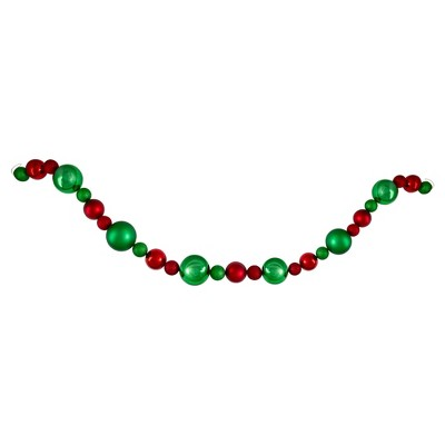Northlight 6' Red and Green 3-Finish Shatterproof Ball Christmas Garland