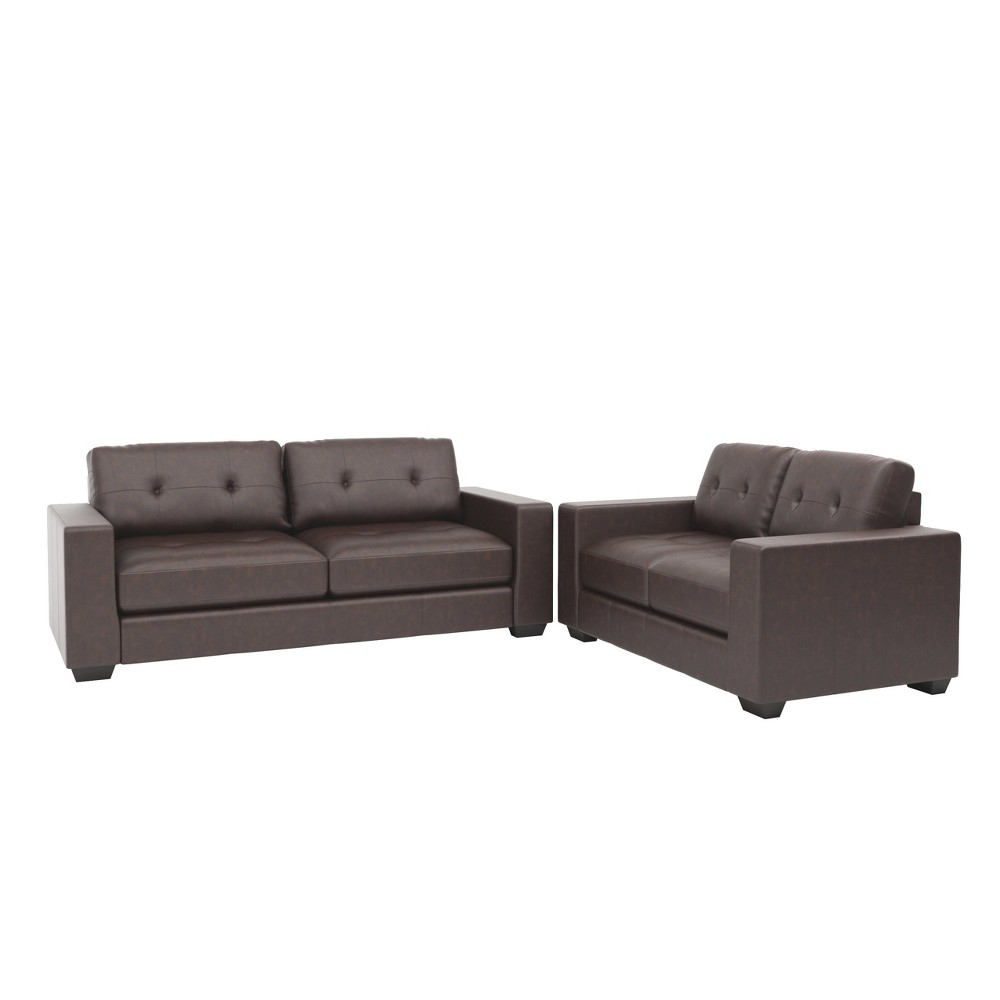 Image of 2pc Club Tufted Bonded Leather Sofa Set Chocolate Brown - Corliving