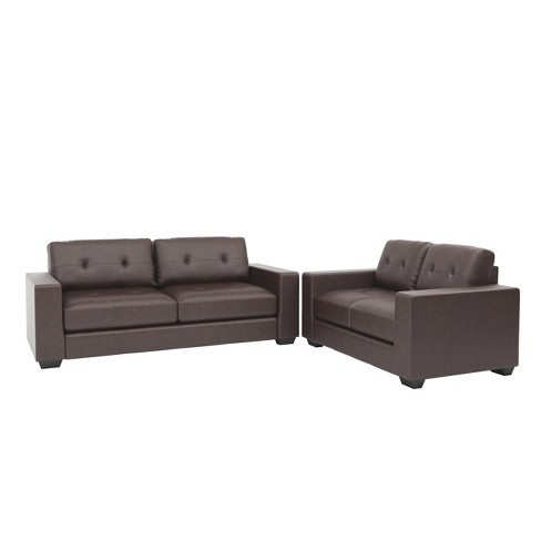 Corliving 2pc Club Tufted Bonded Leather Sofa Set Chocolate Brown - image 1 of 5