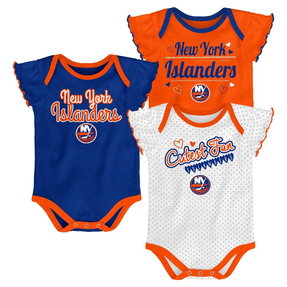 New York Islanders Girls' Winning Goal 3pk Body Suit Set 18 M, Size: 18M, Multicolored