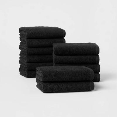 12pk Everyday Hand Towel Bundle Black - Room Essentials™