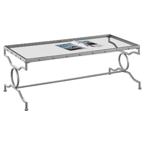 Coffee Table Metal With Tempered Glass Silver - EveryRoom - image 1 of 2