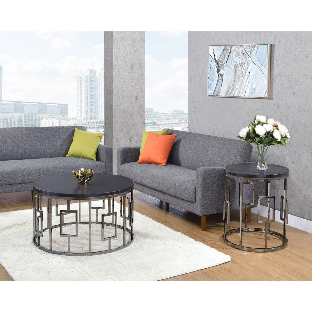 Prime 2Pc Kendall Occasional Coffee Table End Table Set Chrome Pabps2019 Chair Design Images Pabps2019Com