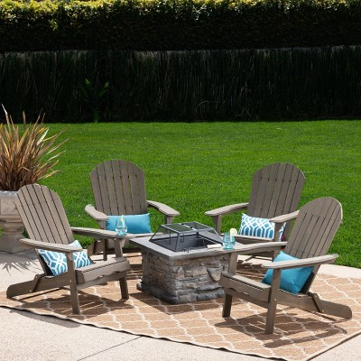 Marrion 5pc Acacia Wood Adirondack Chair and Fire Pit Set - Gray - Christopher Knight Home