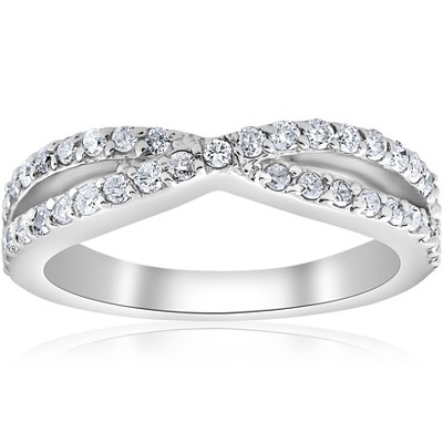 Pompeii3 3/8Ct Diamond Crossover Infinity Stackable Wedding Band Twist Ring White Gold