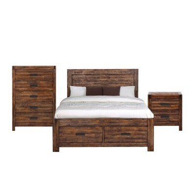 3pc Queen Wren Platform Storage Bedroom Set Chestnut - Picket House Furnishings