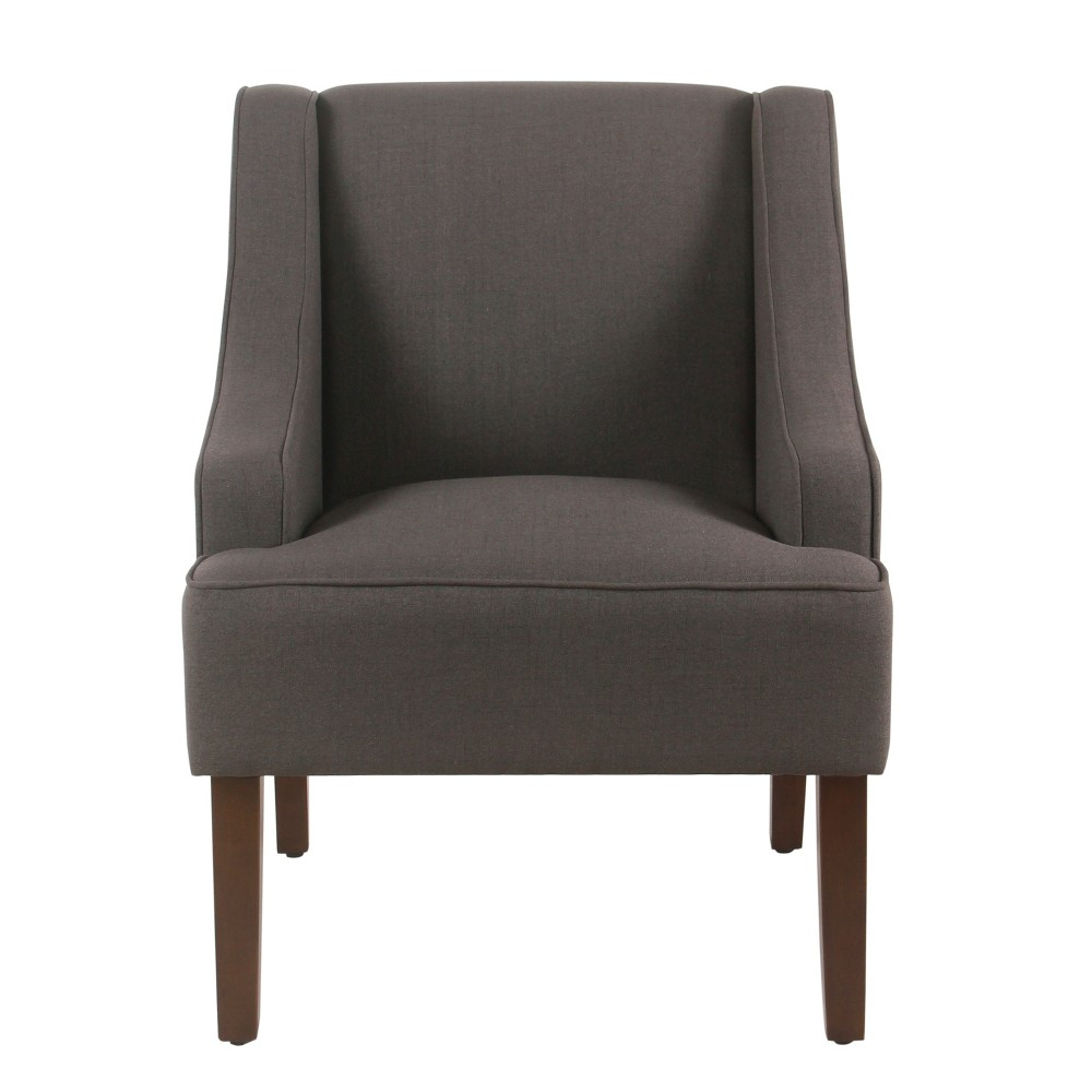 Classic Swoop Arm Accent Chair Dark Charcoal Gray - Homepop