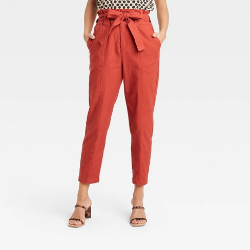 Women's Ankle Length Paperbag Trousers - Who What Wear™  - image 1 of 3