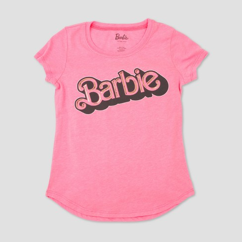 Girls' Barbie Short Sleeve T-Shirt - Pink - image 1 of 5