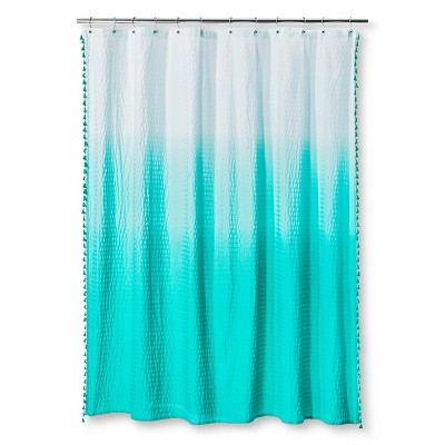 Ombre Seersucker Tassel Shower Curtain - Tropical Green - Pillowfort™