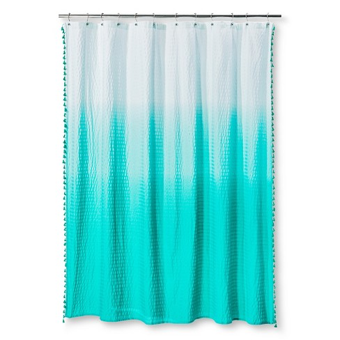 Ombre Seersucker Tassel Shower Curtain