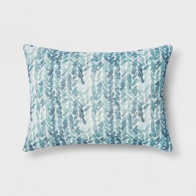 Printed Velvet Lumbar Throw Pillow Blue - Threshold™