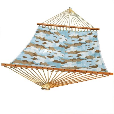 """Northlight 82"""" x 55"""" Blue and Brown Large Floral Quilted Double Hammock"""