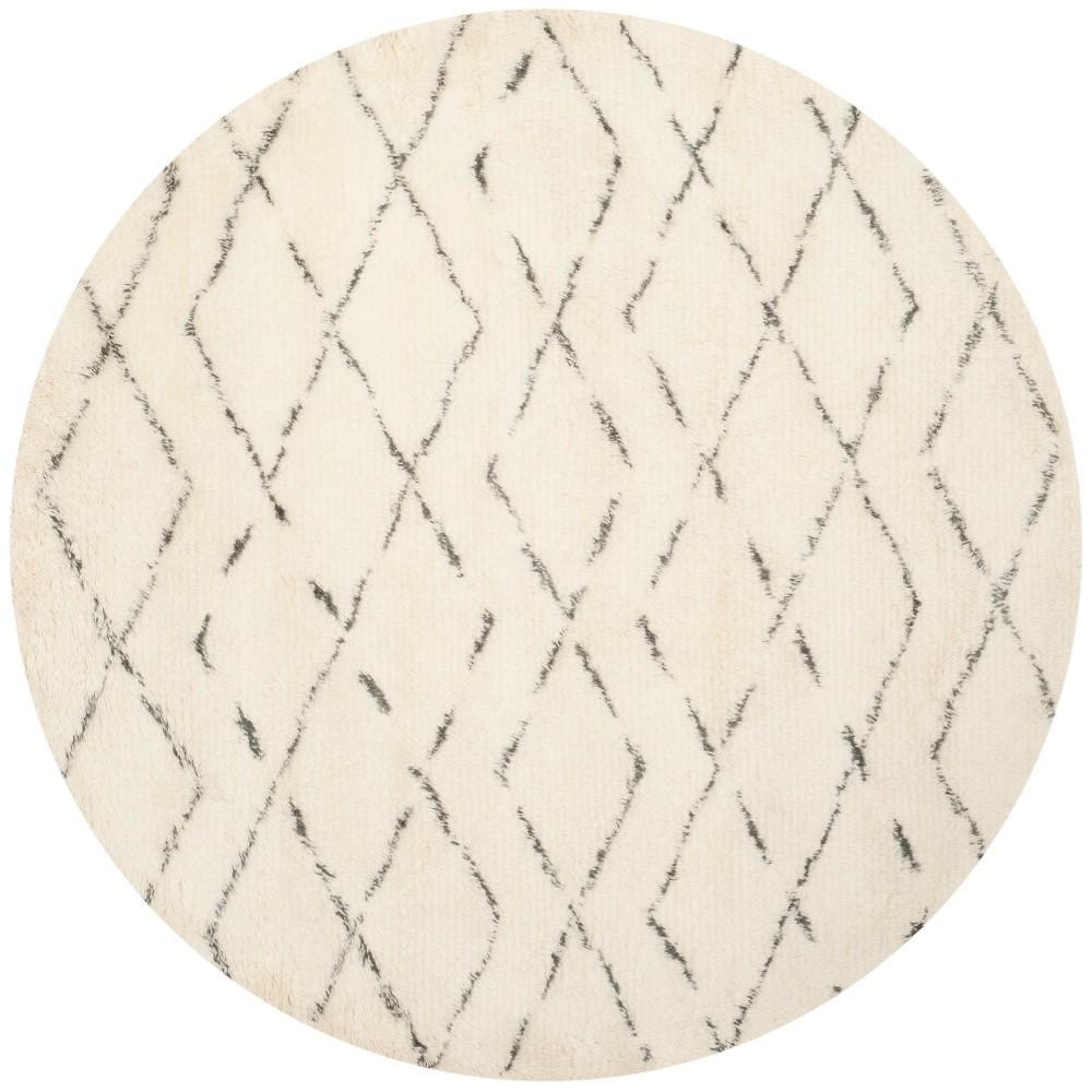 6' Geometric Round Area Rug Ivory/Gray - Safavieh