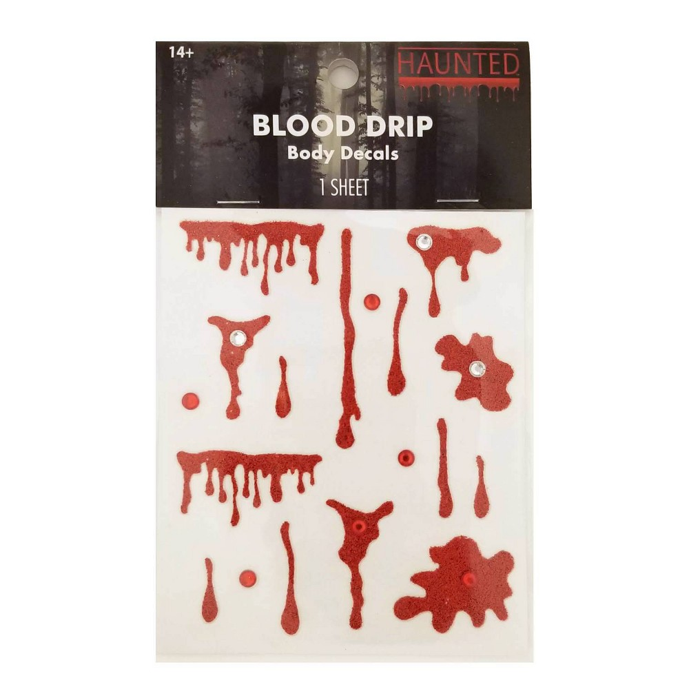Image of Haunted Halloween Temp Tattoos Blood Drip - 1ea, Red