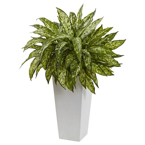 Aglaonema Artificial Plant with White Decorative Planter - Nearly Natural - image 1 of 1