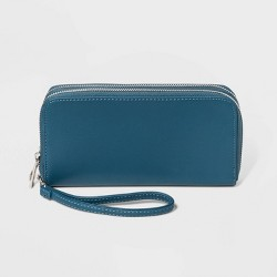 Women's Double Zipper Faux Leather Wallet with Wristlet - A New Day™