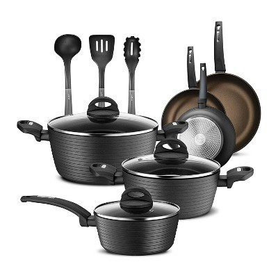 NutriChef Metallic Ridge Line Nonstick Cooking Kitchen Cookware Pots and Pan Set with with Lids and Utensils, 12 Piece Set, Gray