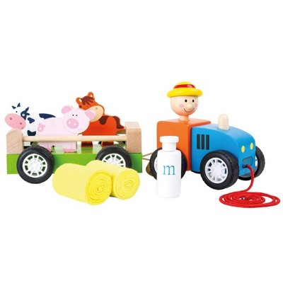 Small Foot Wooden Toys Farmer With Animals Pull-Along Toy Playset