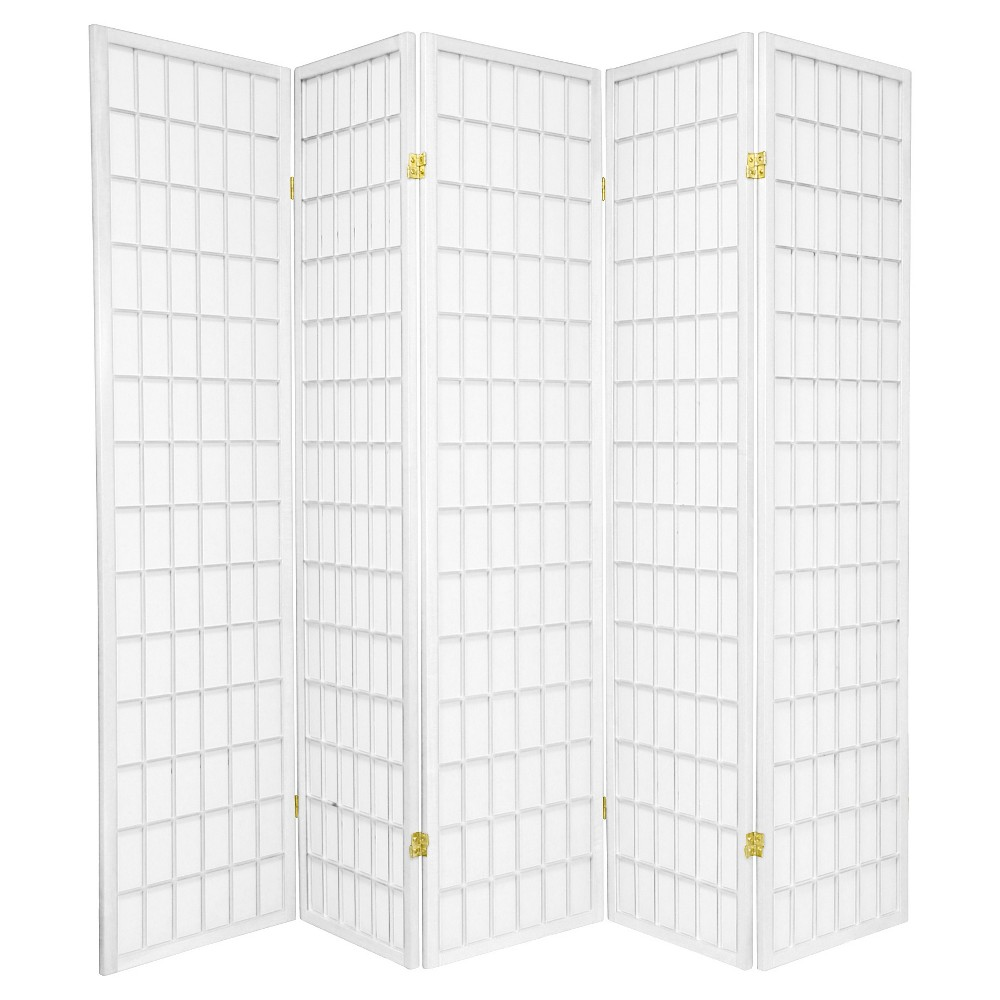 6 ft. Tall Window Pane Shoji Screen - White (5 Panels)