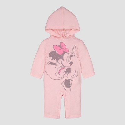 Baby Girls' Disney Minnie Hooded Coverall - Pink 0-3M