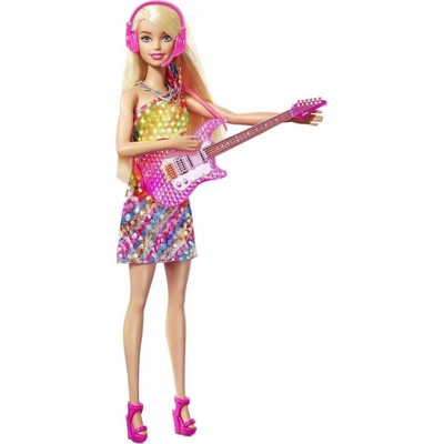 Singing Barbie Doll with Music & Light-Up Feature, Pink Guitar