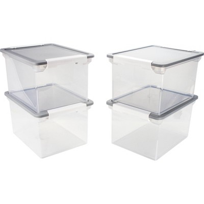 Storex 4pk Storage File Totes with Locking Handles - Clear