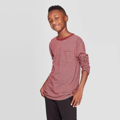 Boys' Long Sleeve T-Shirt - Cat & Jack™ Maroon - image 1 of 3