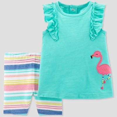 Baby Girls' 2pc Flamingo Top and Stripe Shorts Set - Just One You® made by carter's Teal 3M