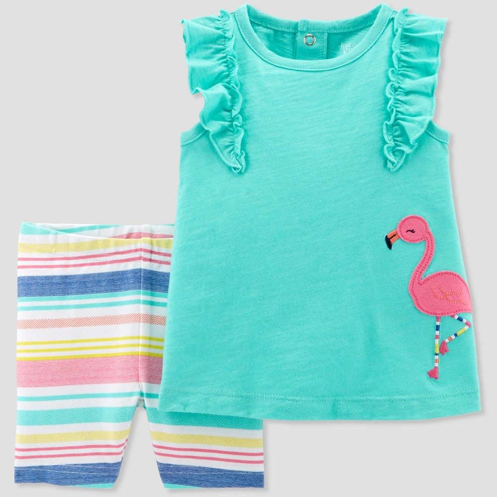 Baby Girls' 2pc Flamingo Top and Stripe Shorts Set - Just One You made by carter's Teal 12M, Blue