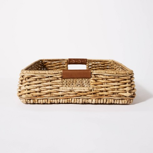 """26"""" x 16"""" Decorative Banana Leaf Rectangle Woven Tray with Cut Off Handles Brown - Threshold™ designed with Studio McGee - image 1 of 4"""