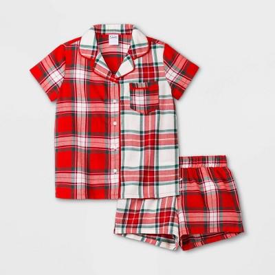 Girls' Plaid Pajama Set - art class™ Red