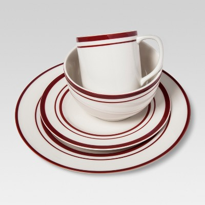 Cabot Stoneware 16pc Dinnerware Set White with Red Rim - Threshold™