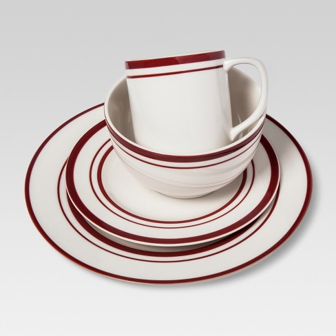 Cabot Stoneware 16pc Dinnerware Set White With Red Rim Threshold