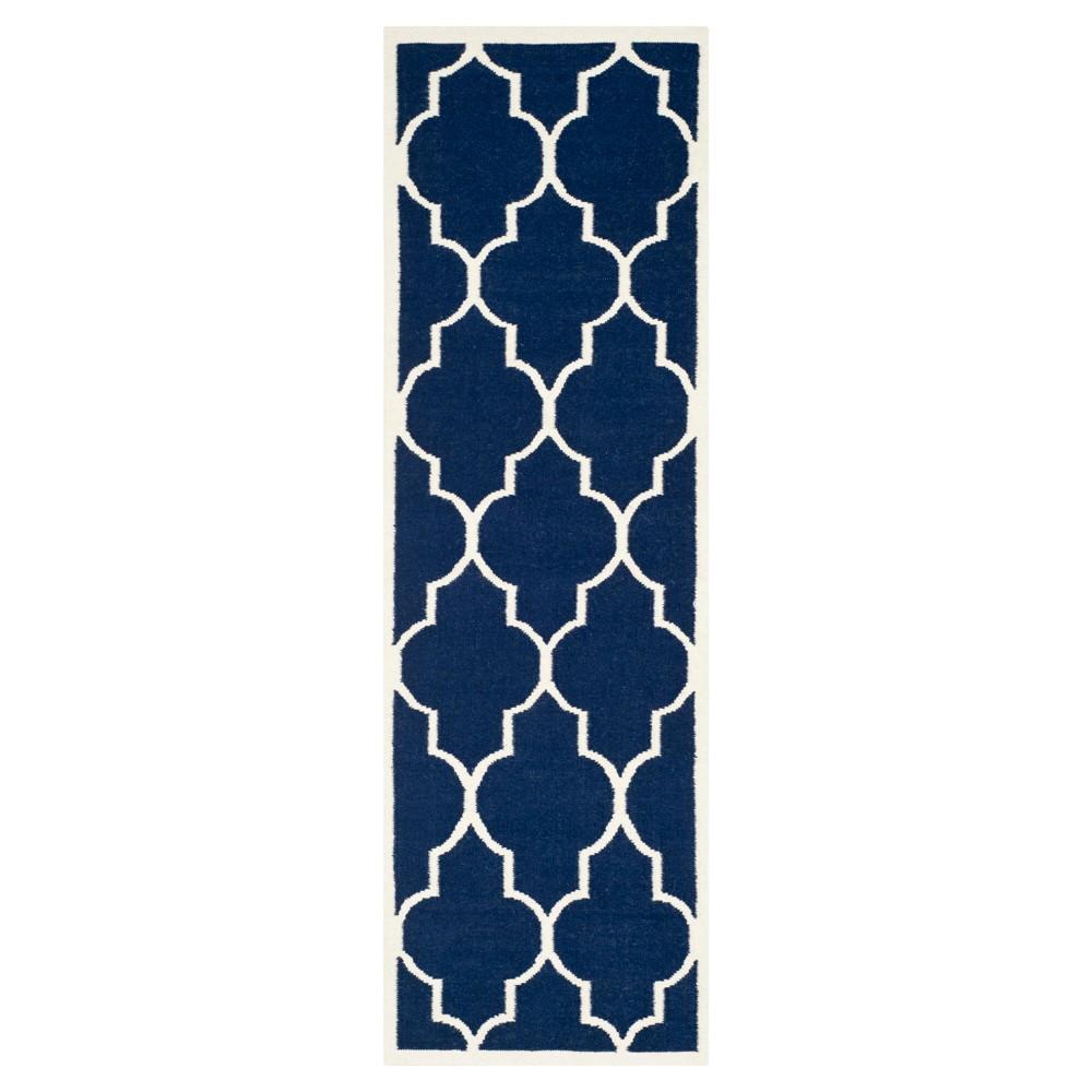 Alarice Dhurry Rug - Navy/Ivory (Blue/Ivory) - (2'6x12') - Safavieh