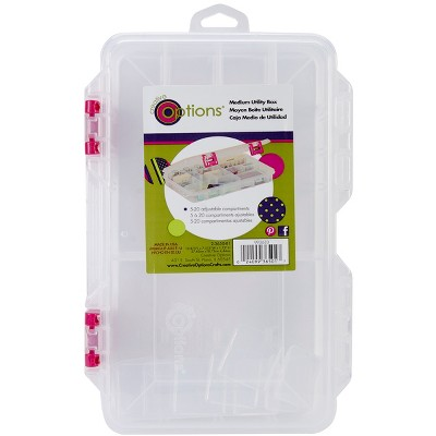 """Creative Options Pro Latch Utility Box 6-20 Compartments-10.875""""X7.25""""X1.625"""" Clear W/Magenta"""