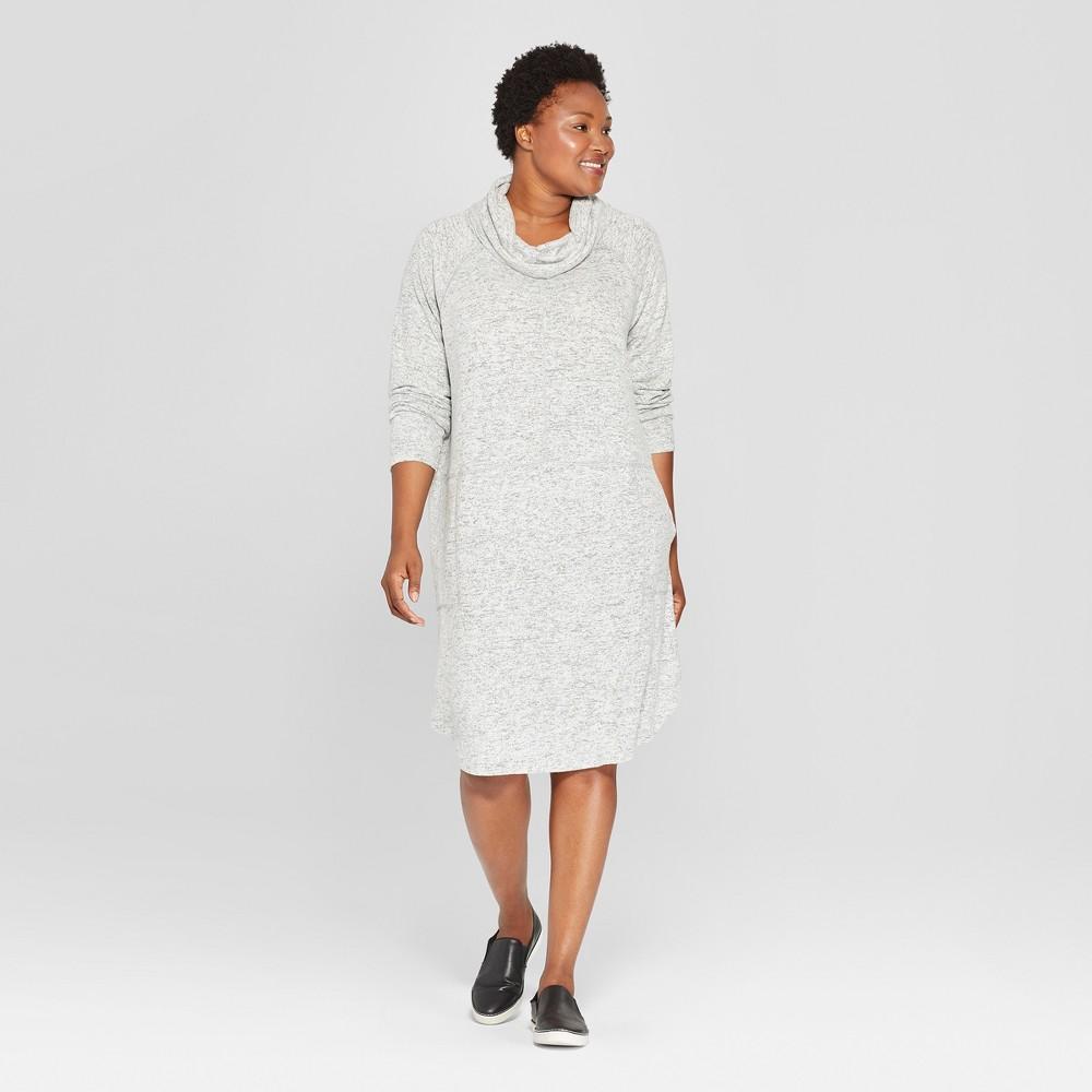 Women's Plus Size Knit Cowl Neck Dress - Ava & Viv Heather Gray 4X
