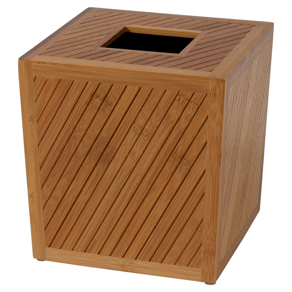 Image of Spa Bamboo Tissue Box Cover Wood - Creative Bath, Brown
