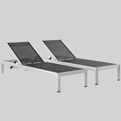 Shore 2ct Outdoor Patio Aluminum Chaise   Black   Modway by Modway