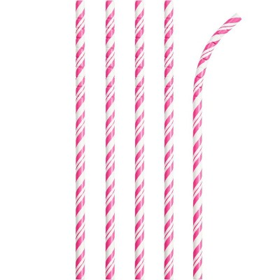 24ct Candy Pink and White Striped Paper Straws