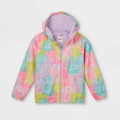 Girls' Tie-Dye Zip-Up Long Sleeve Rain Jacket - Cat & Jack™