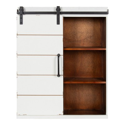 "22"" x 7.25"" x 28"" Rafferty Decorative Farmhouse Wall Cabinet White/Brown - Kate & Laurel All Things Decor"
