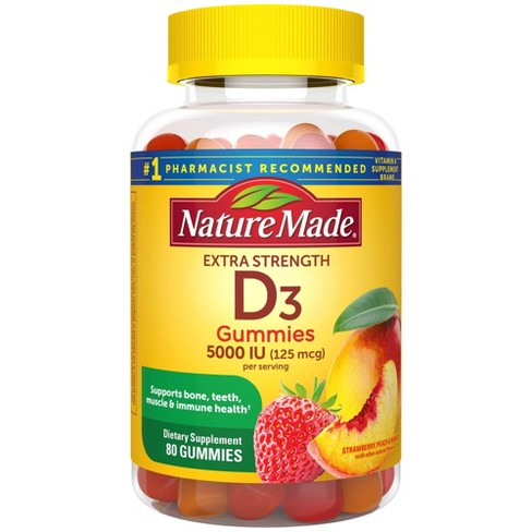 Nature Made Extra Strength Vitamin D3 5000 IU (125 mcg) Gummies - Strawberry, Peach & Mango - 80ct - image 1 of 4