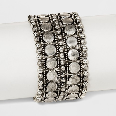 Textured Discs and Stippled Edge Stretch Bracelet - Universal Thread™ Dark Silver - image 1 of 1