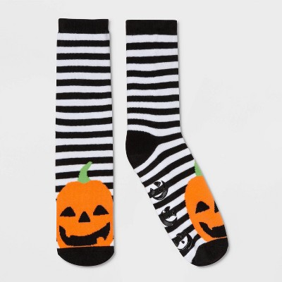 Women's Striped Pumpkin Halloween Terry Lined Crew Socks With Grippers   Black/Orange One Size by Target
