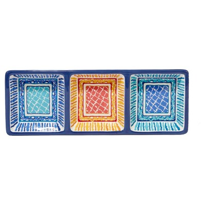 Certified International® San Marino by Joyce Shelton Ceramic 3-Section Relish Tray Blue