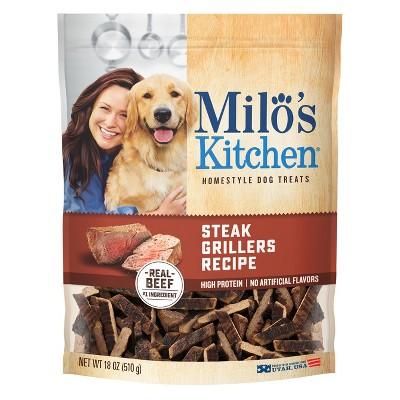 Milo's Kitchen Steak Grillers Beef Recipe with Angus Steak Dog Treats - 18oz