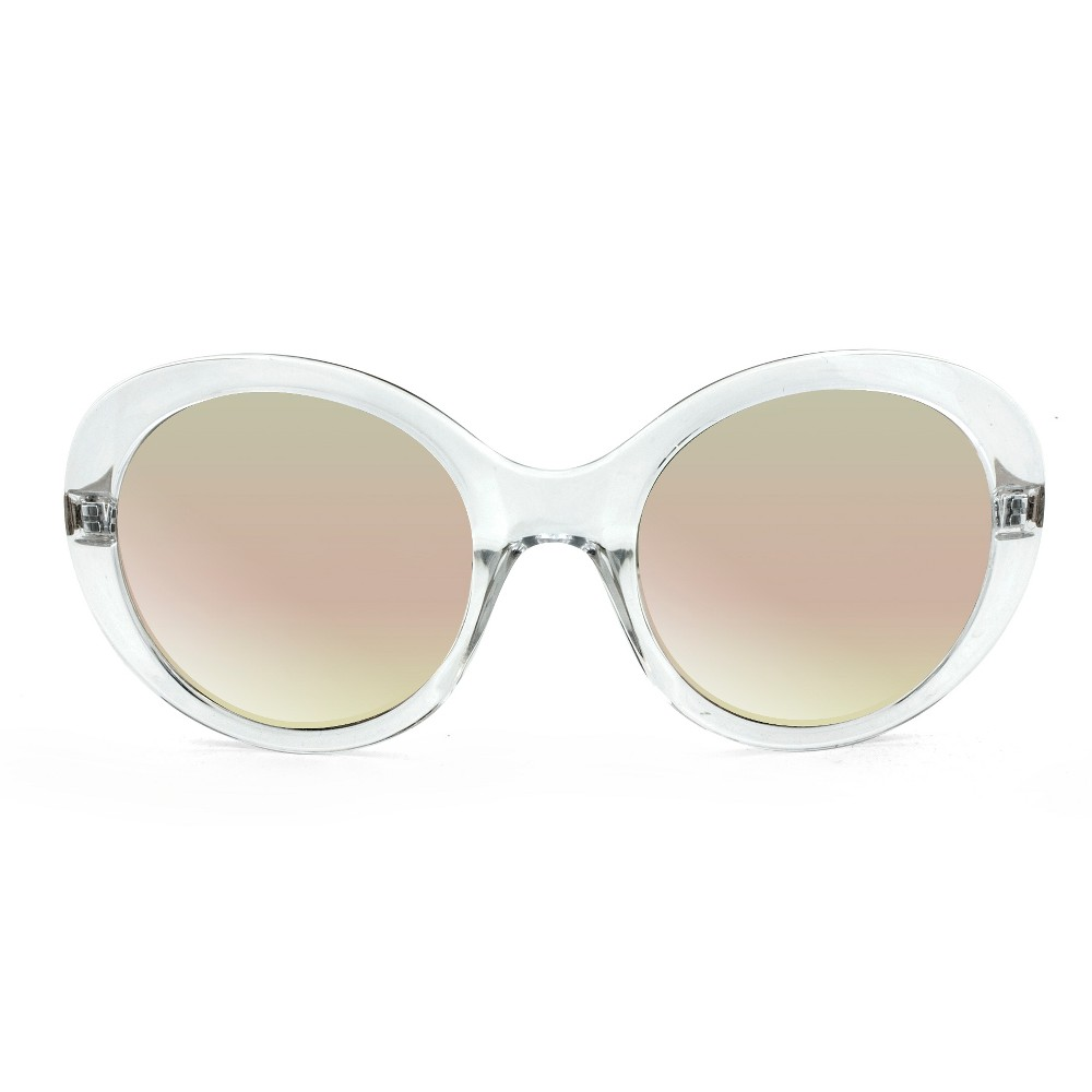 Women's Round Sunglasses With Blush Pink Mirrored Lens - Wild Fable Clear